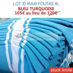 Lot de 10 maxi foutas XL plates - Coloris Bleu Turquoise