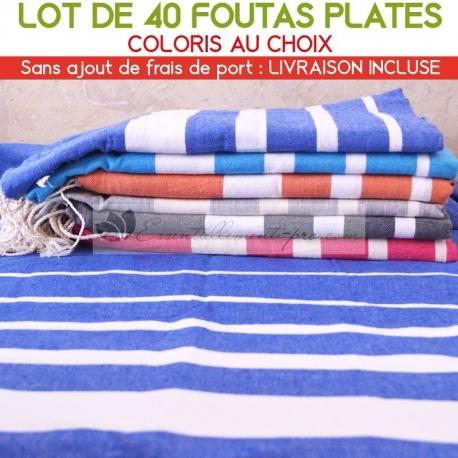 Lot de 40 foutas plates - Coloris panachés