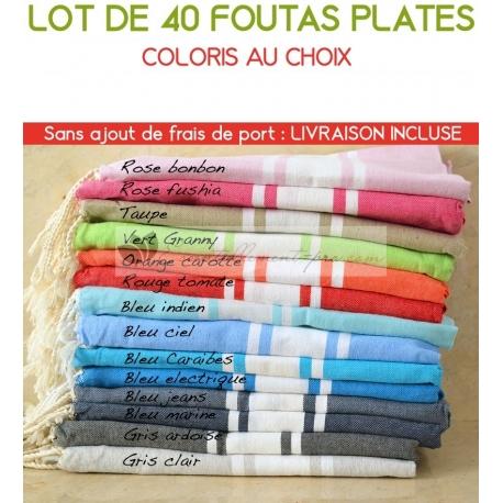 Lot de 40 foutas plates - Coloris au choix