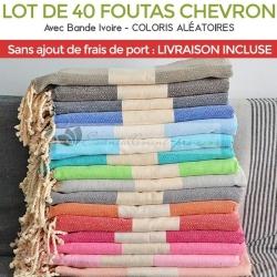 Lot de 40 foutas chevron- Coloris panachées