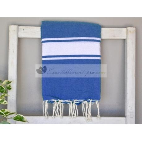 Fouta plate bleu grec 100% coton de haute qualité