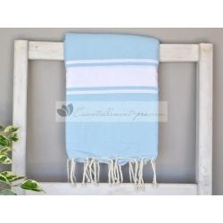 Serviette Fouta plate bleu Ciel 100% coton grossiste