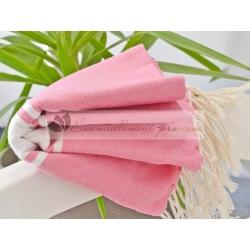Serviette Fouta plate Rose Bonbon 100% coton