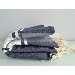 Serviette Fouta plate bleu Marine 100% coton grossiste