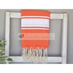 Serviette Fouta plate Orange Corail 100% coton grossiste