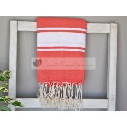 Serviette Fouta plate Rouge Corail 100% coton grossiste
