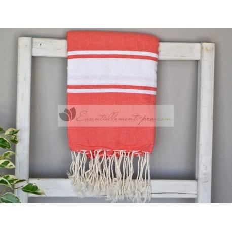 Serviette Fouta plate Rouge Corail 100% coton