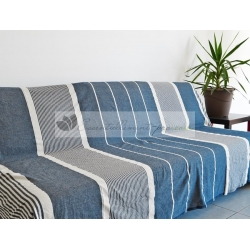 Grande Fouta XXL Bleu Turquoise rayé Ivoire 2m sur 3m 100% coton grossiste