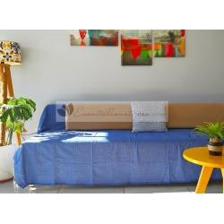Grande Fouta XXL Bleu Grec 2m sur 3m 100% coton grossiste