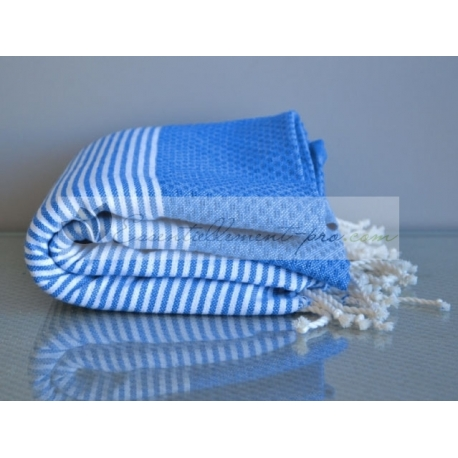 Serviette Fouta plate Bleu Grec 100% coton grossiste