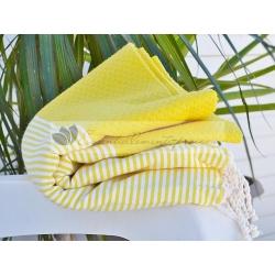 Serviette Fouta nid d'abeille Jaune citron rayé blanc grossiste