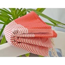 Serviette Fouta nid d'abeille Rouge Corail rayé blanc grossiste