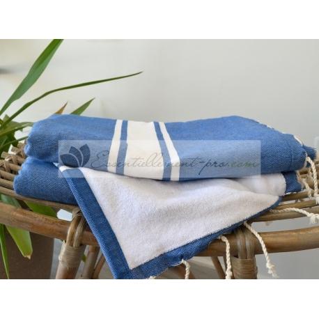 Serviette Fouta plate Doublée éponge Bleu Grec Vente en Gros