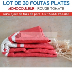 Lot de 30 foutas plates - Coloris Rouge Tomate