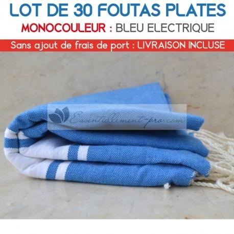 Lot de 30 foutas plates - Coloris Bleu Electrique