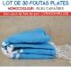 Lot de 30 foutas plates - Coloris Bleu Caraïbes