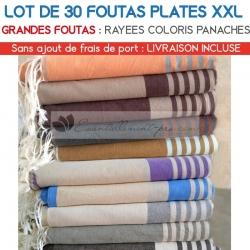 Epuisé - Lot de 30 grandes foutas plates XXL - Coloris panachés