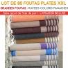 Lot de 80 grandes foutas plates XXL - Coloris panachés
