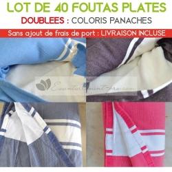 Lot de 40 foutas plates doublées - Coloris panachés