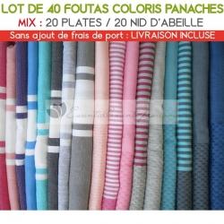 Lot de 40 foutas : 20 plates et 20 Nid d'Abeille - Coloris panachés
