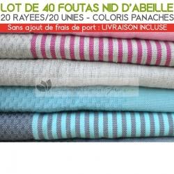 Lot de 40 foutas Nid d'Abeille : 20 unies, 20 rayées - Coloris panachés