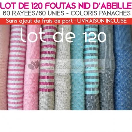 Lot de 120 foutas Nid d'Abeille : 60 unies 60 rayées - Coloris panachés