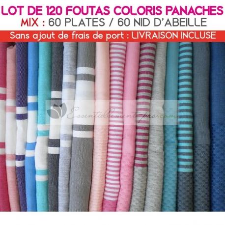 Lot de 120 foutas : 60 plates et 60 Nid d'Abeille - Coloris panachés