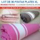 Lot de 30 grandes foutas plates XL classiques - Coloris panachés
