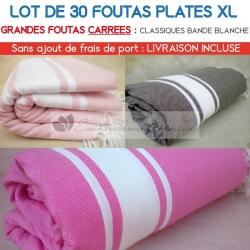 Lot de 30 grandes foutas plates XL carrées classiques - Coloris panachés