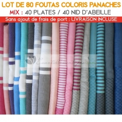 Lot de 80 foutas : 40 plates et 40 Nid d'Abeille - Coloris panachés